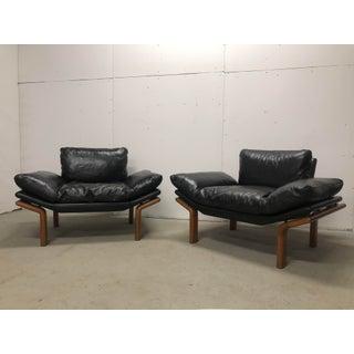 Vintage Mid Century Komfort Danish Teak and Black Leather Club Chair Preview
