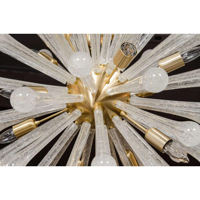 Metal Clear Murano Glass Sputnik Chandelier with Brass Fittings For Sale - Image 7 of 9