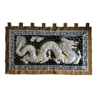 Large Vintage Handmade Kalaga Dragon Wall Tapestry. For Sale