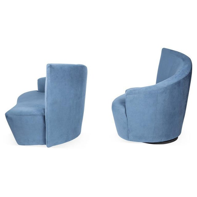 1990s Vintage Vladimir Kagan for Weiman Preview Bilbao Swivel Lounge Chairs- a Pair For Sale In Philadelphia - Image 6 of 8