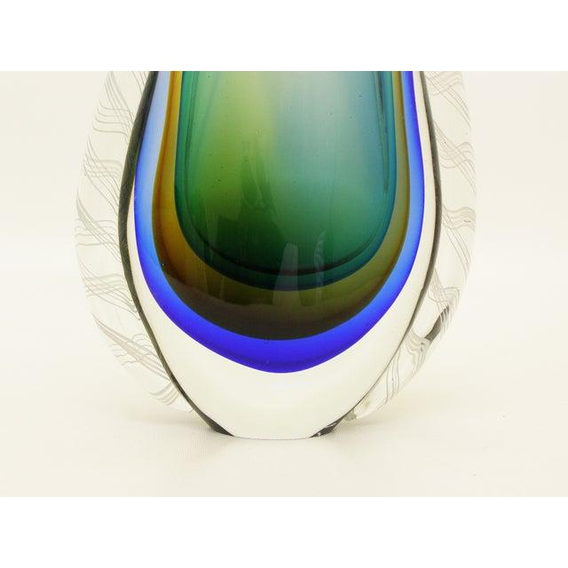 Green Blue Yellow Zanfirico Murano Glass Vase Mid Century Modern Mcm