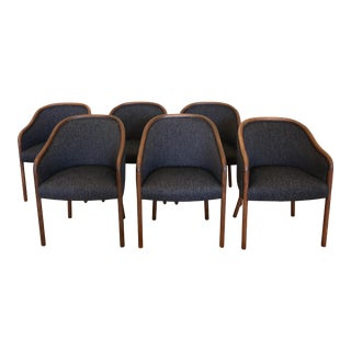 1960's Vintage Ward Bennet for Brickell Upholstered Club Chairs- Set of 6 For Sale