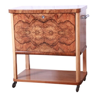 1930s Art Deco Burl Wood Rolling Bar Cart For Sale