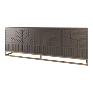 Stria Credenza - Brushed Brass Base, Smoke Wood OAK For Sale