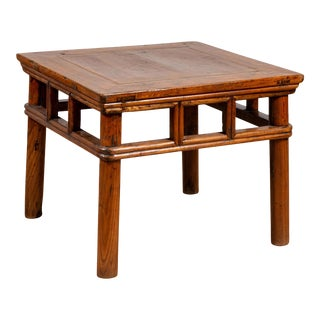 Antique Chinese Elmwood Table with Pierced Apron and Pillar-Shaped Struts Motifs For Sale