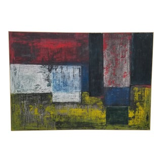 Contemporary Abstract Mixed-Medium Painting by Kelly Caldwell, Framed For Sale
