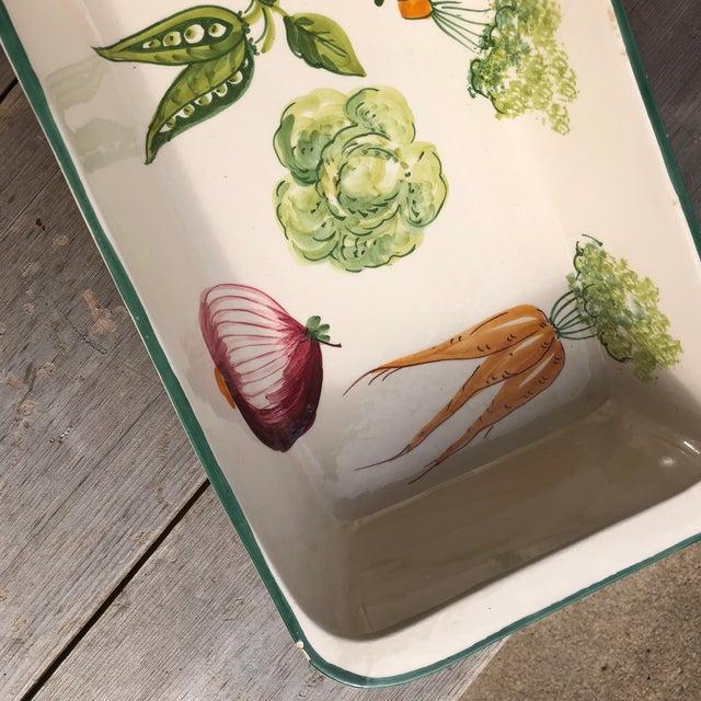 Italian Hand Painted Ceramic Vegetable Baking Dish/Serving Platter For Sale - Image 11 of 12