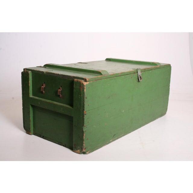 Vintage Military Green Wood Foot Locker - Image 8 of 11