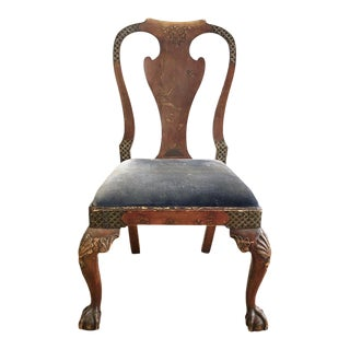 Antique Chinoiserie Queen Ann Claw Foot Chair For Sale