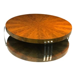 Impressive Art Deco Style Burled Wood Coffee Table For Sale