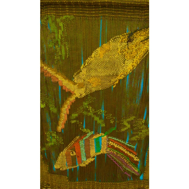 Mid-Century Fiber Art Textile Wall Hanging of Fish | Chairish