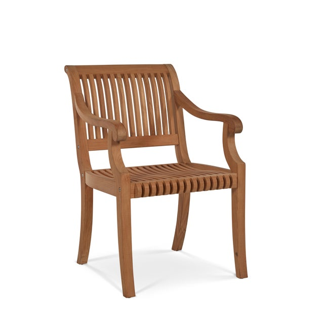 Palm Teak Outdoor Armchair For Sale - Image 10 of 10