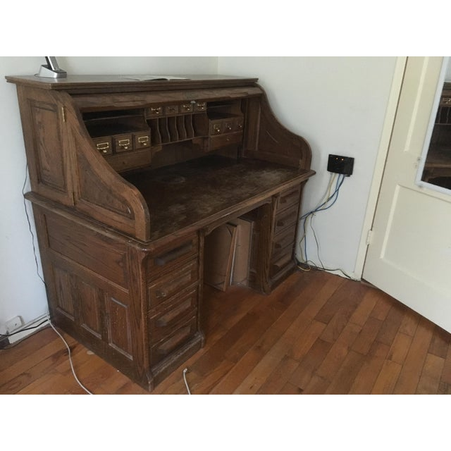Vintage Jefferson Rolltop Desk For Sale - Image 4 of 10