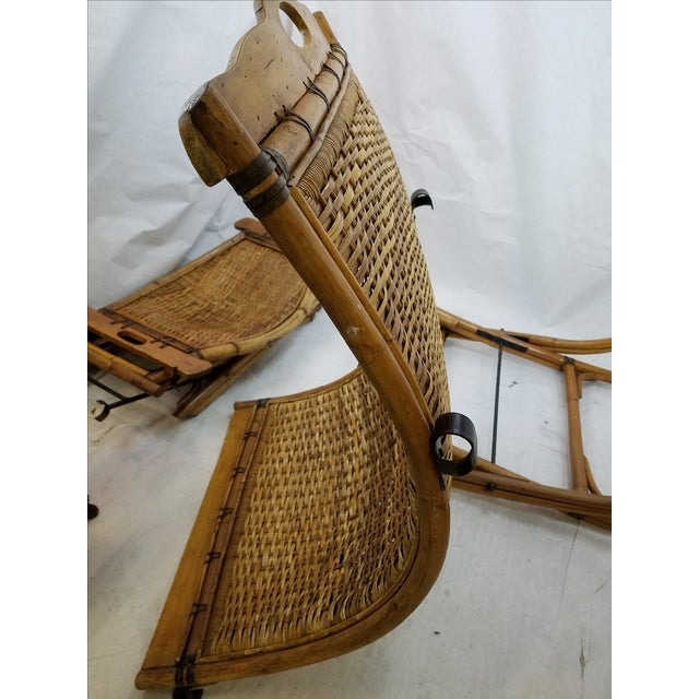 Brown Vintage Rattan Sling Chair With Ottoman For Sale - Image 8 of 8