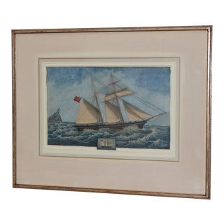 "19th Century Chinese Export ""Clipper Ship W/ Union Jack"" Watercolor Painting For Sale"