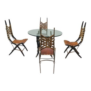 Rare Mid Century Italian Modernist Dining Set by Alberto Marconetti Like Bugatti - Set of 5 For Sale