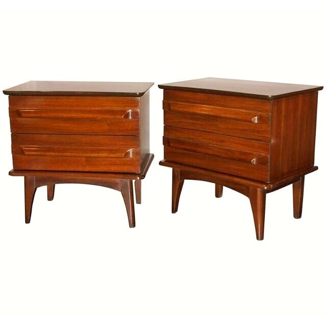 Mid-Century Mahogany Nightstands - A Pair - Image 1 of 5