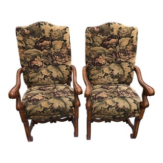 French Upholstery Nailhead Trim Carved Wood Armchairs - a Pair