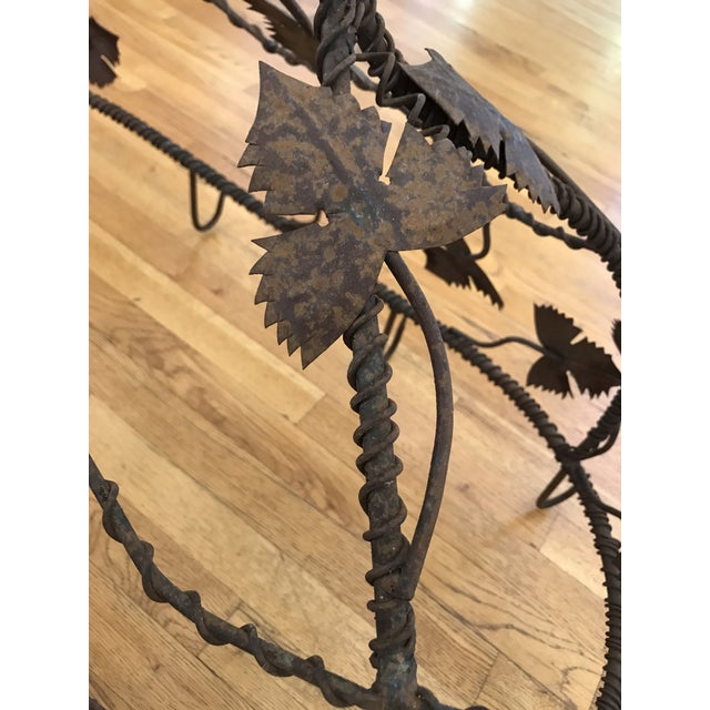 1970s 1970s Custom Crafted Enchanting Wrought Iron Grape Vine Pot Rack For Sale - Image 5 of 13
