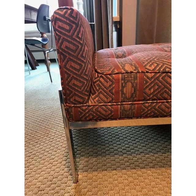 Vintage Chrome Upholstered Bench - Image 4 of 9