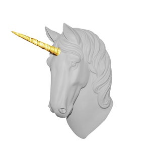 "Wall Charmers ""The Luna"" Faux White + Gold Glitter Horn Magical Unicorn Head Wall Hanging For Sale"