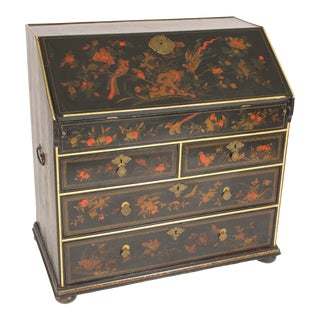 Antique Asian Export Chinoiserie Decorated Georgian Style Slant Top Desk For Sale