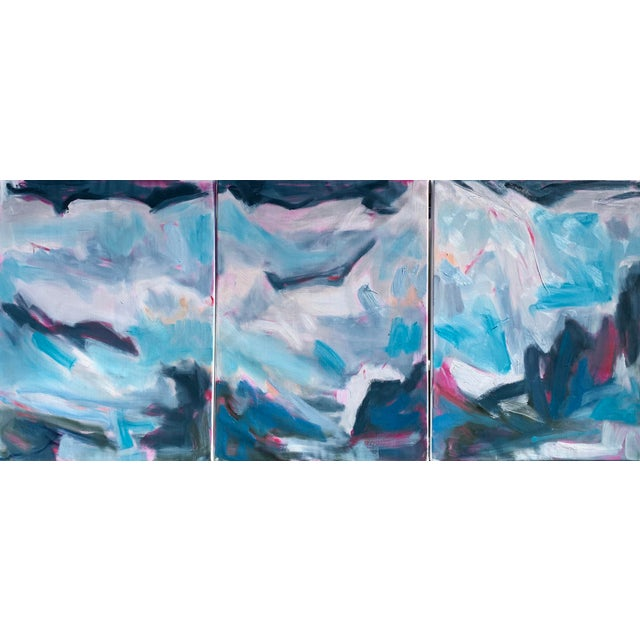 """High Seas"" by Trixie Pitts Large Triptych Abstract Oil Painting For Sale - Image 12 of 13"