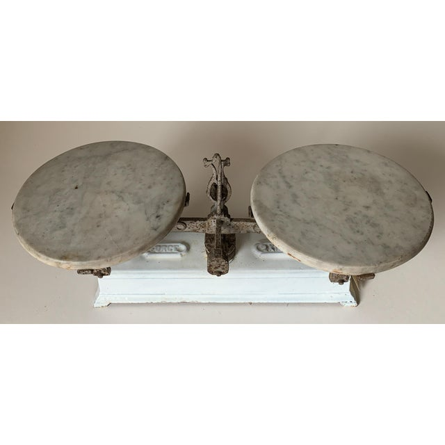 White Antique 1920s Iron and Marble Balance Scale For Sale - Image 8 of 10