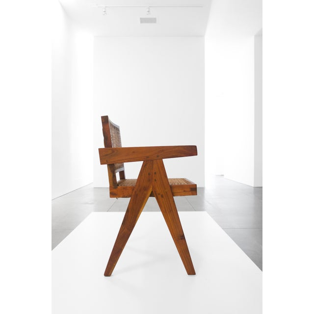 Mid-Century Modern Pierre Jeanneret Teak Conference Chair From Chandigarh, India, C. 1952 - 1956 For Sale - Image 3 of 10