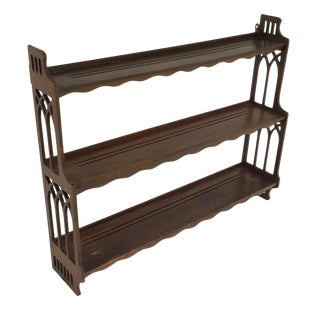 Antique Wood Display Shelf With Open Carved Sides For Sale