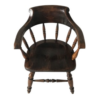 "19th Century Antique English ""Captain"" Arm Chair For Sale"