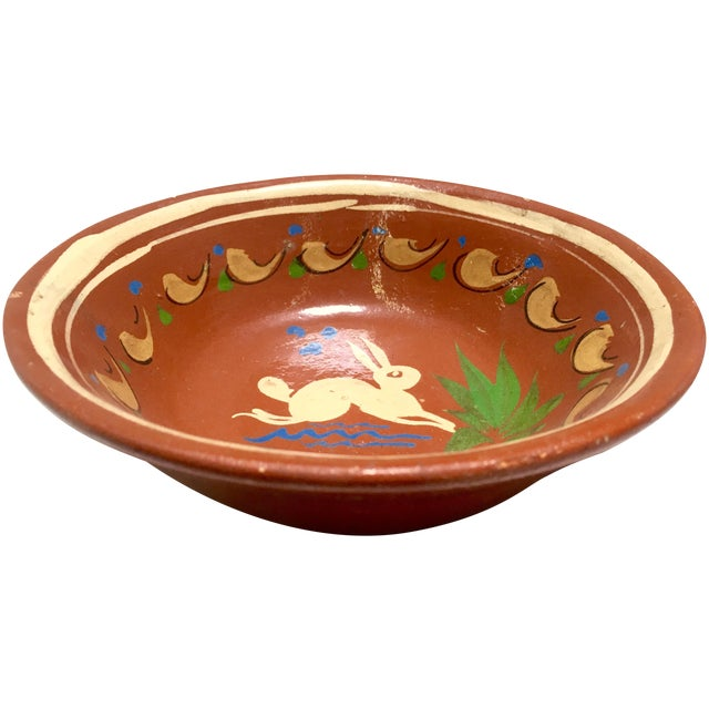 Redware Bowl With Rabbit - Image 1 of 5