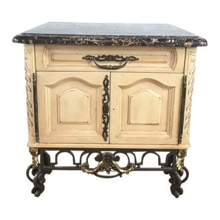 Vintage French Rococo Style Carved & Painted Wood Marble Top Sideboard