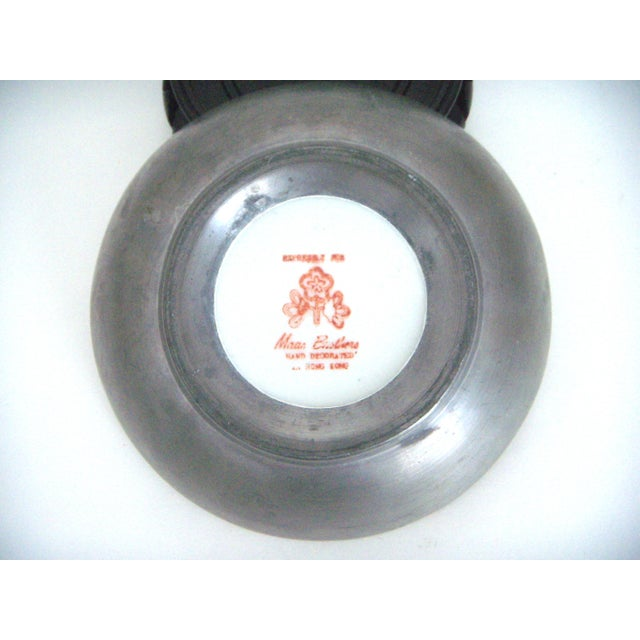 Ceramic Maas Brothers Chinese Rose Canton Plate & Stand For Sale - Image 7 of 8