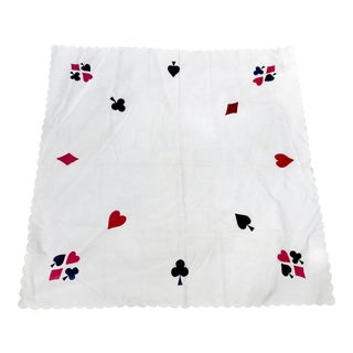 1950s Vintage Handmade Card Table Tablecloth For Sale
