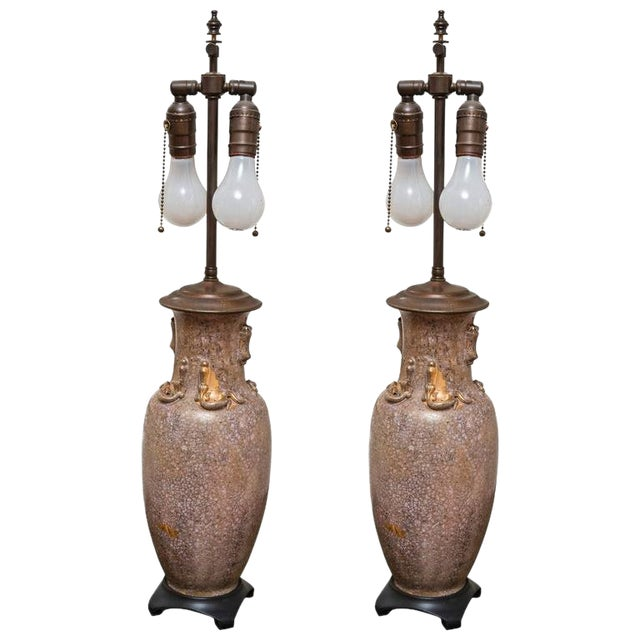 Traditional Shimmering Blush Ceramic Lamps - a Pair For Sale