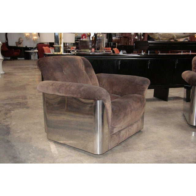 Pair of Italian Leather Armchairs with Chromed Steel Bases For Sale - Image 4 of 9