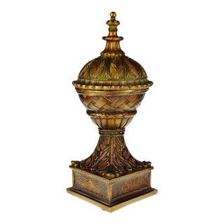 Vintage Decorative Carved Wood Look Resin Lidded Urn