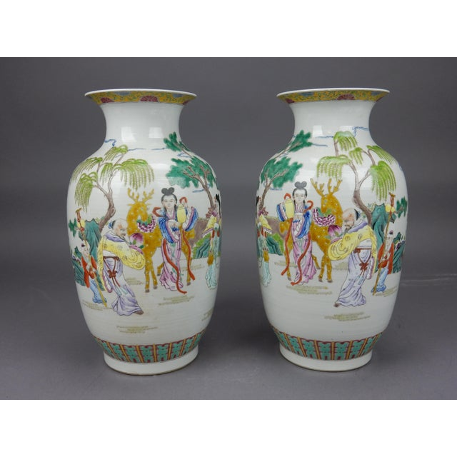 Asian Gorgeous Pair of Chinese Famille Rose Mirror Imaged Immortal Vases For Sale - Image 3 of 13