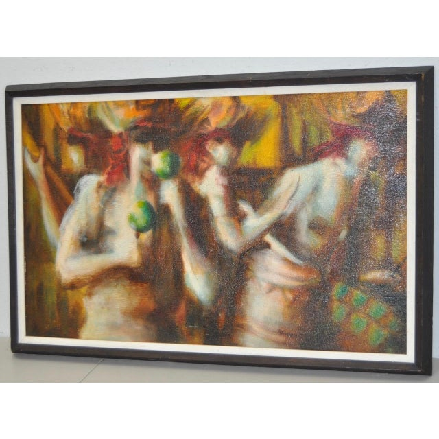 C.1970 Caribbean Mood Oil Painting by Reuben - Image 5 of 8