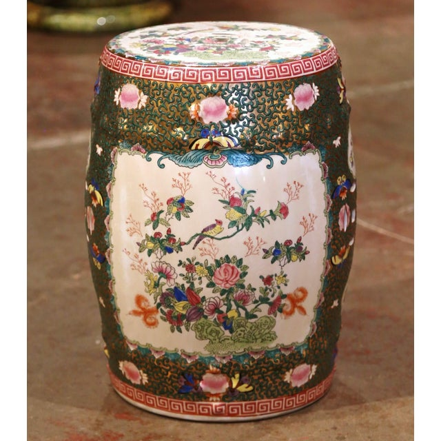 Mid-Century Chinese Porcelain Garden Stool With Bird and Floral Decor For Sale - Image 13 of 13