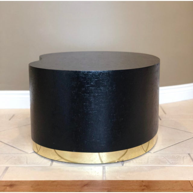Gold 1970s Art Deco Karl Springer Kidney Black Grasscloth and Brass Coffee Table For Sale - Image 8 of 9