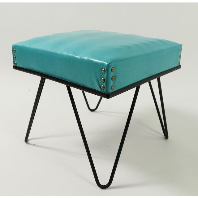 Mid Century Hairpin Leg Stool Ottoman For Sale In New York - Image 6 of 12