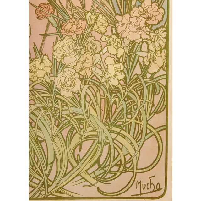 Late 19th Century Late 19th Century Alphonse Mucha Carnation Art Nouveau Poster For Sale - Image 5 of 6