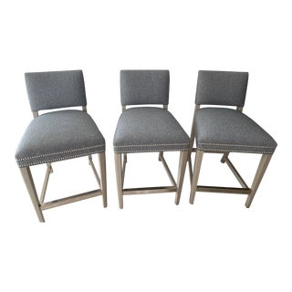 Vanguard Furniture Upholstered Michael Weiss Counter Height Stools - Set of 3 For Sale