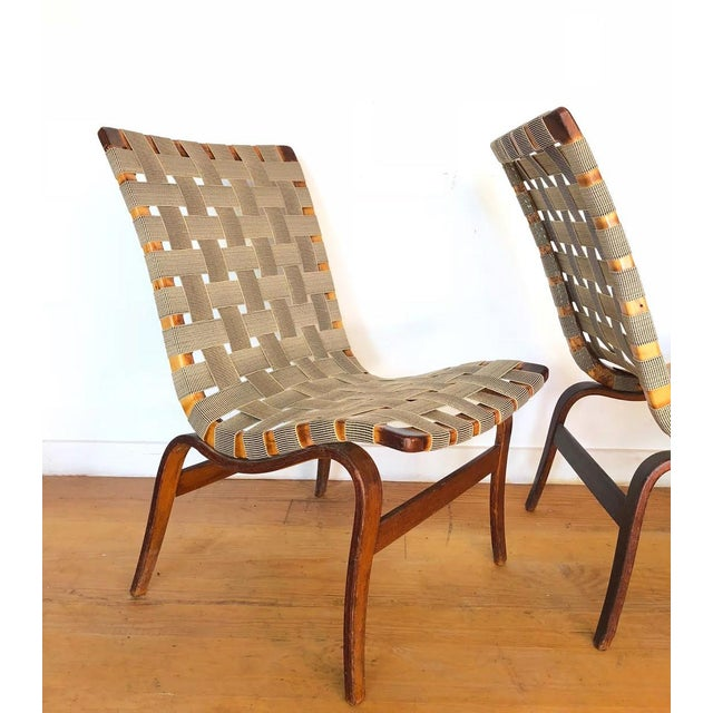 1940s 1940s Scandinavian Modern Bruno Mathsson for Karl Mathsson Eva Chairs - a Pair For Sale - Image 5 of 9