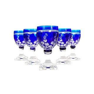 Bohemian Blue Cut Glass Goblets Glasses - Set of 4 For Sale