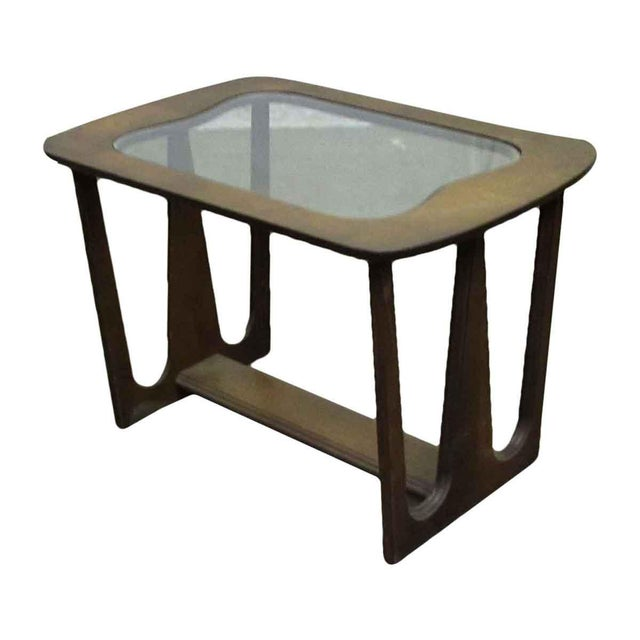 A walnut mid-century style side table.
