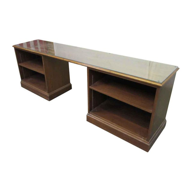 Glass 1980s Walnut Executive Desk For Sale - Image 7 of 9