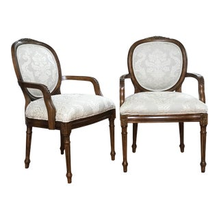 French Louis XVI Style Vintage Carved Fauteuils Linen Arm Chairs - a Pair For Sale
